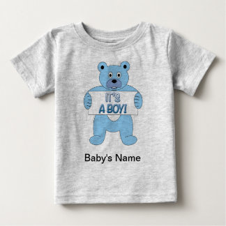 It's A Boy Blue Bear Baby T-Shirt