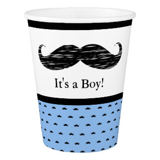 """It's a Boy"" Blue Black Mustache Baby Shower Cups"
