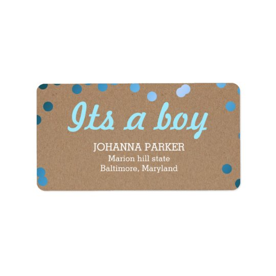Its A Boy Blue Confetti Rustic Kraft Paper Address Label