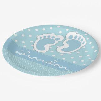 Its A Boy Blue Feet White Polka Dots Pattern Paper Plate