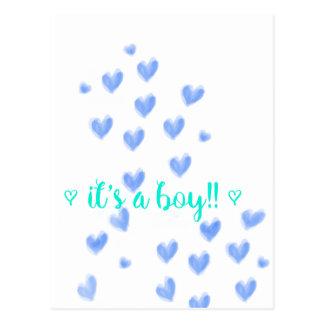 IT'S A BOY - Blue & Teel watercolour hearts design Postcard