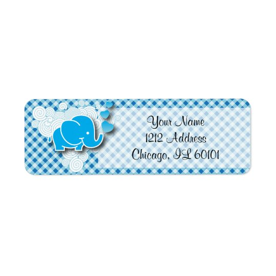 It's A Boy, Blue & White Plaid with Baby Elephant