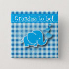 It's A Boy, Blue & White Plaid with Baby Elephant 15 Cm Square Badge