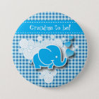 It's A Boy, Blue & White Plaid with Baby Elephant 7.5 Cm Round Badge