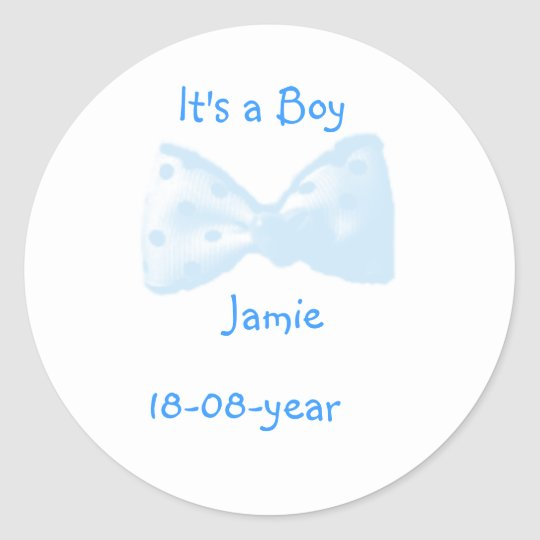It's a boy! -bow-sticker - classic round sticker