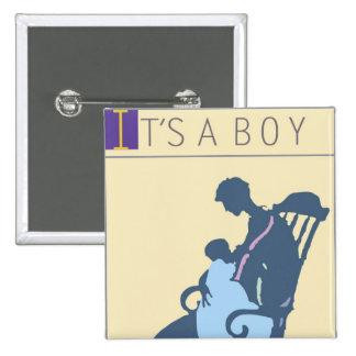 <It's a Boy> by Steve Collier 15 Cm Square Badge