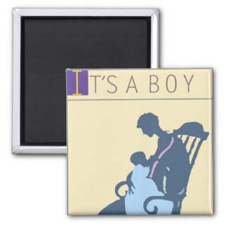 <It's a Boy> by Steve Collier Square Magnet