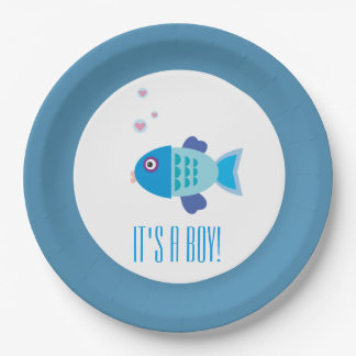 It's a Boy Cartoon Fish Gender Reveal Baby Shower Paper Plate