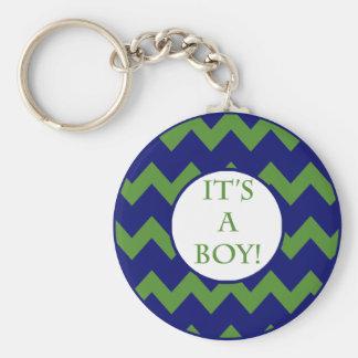 Its A Boy Chevron Milestone Keychains
