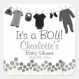 It's A BOY! Clothesline Baby Shower Square Sticker