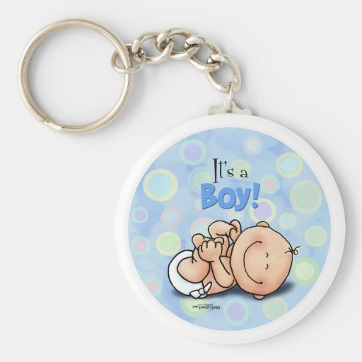 It's a Boy - Congratulations button Basic Round Button Key Ring
