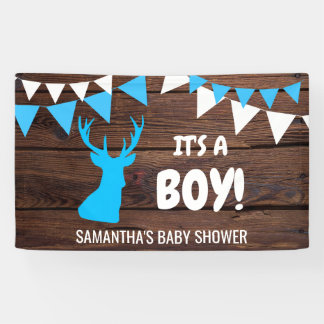 IT'S A BOY! Custom Rustic Buck Deer Baby Shower Banner