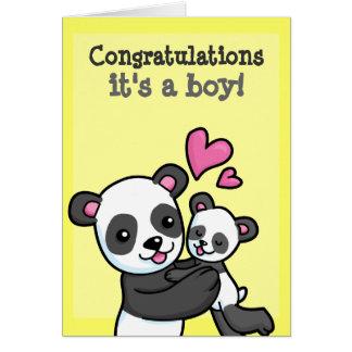 It's a boy customisable Panda Bear cuddle Greeting Card