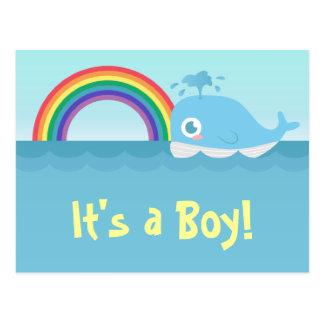 It's a Boy - Cute Baby Blue Whale with Rainbow Postcard