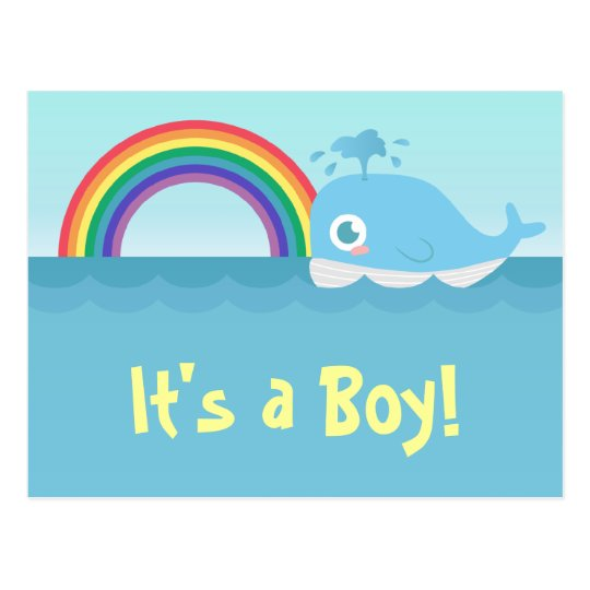 It's a Boy - Cute Baby Blue Whale