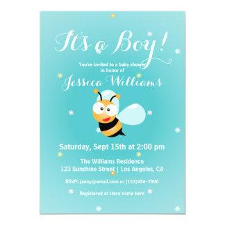It's a Boy Cute Bumble Bee Blue Boy Baby Shower Card
