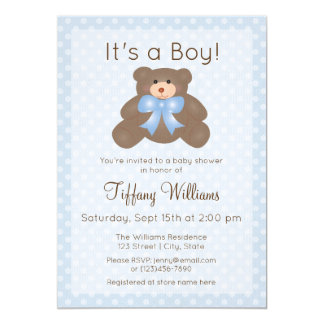 It's a Boy Cute Teddy Bear Boy Baby Shower Invite
