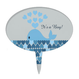 It's A Boy! Cute Whale Cake Toppers