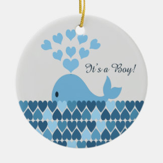 It's A Boy! Cute Whale Christmas Ornament