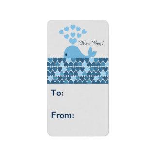It's A Boy! Cute Whale Address Label