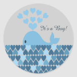It's A Boy! Cute Whale Round Stickers
