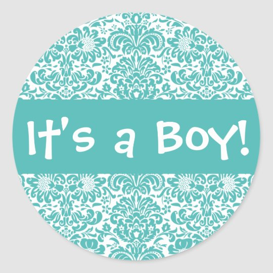 It's a Boy! Damask Envelope Sticker Seal