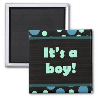 It's A Boy! Dot Design Dark Blues Square Magnet