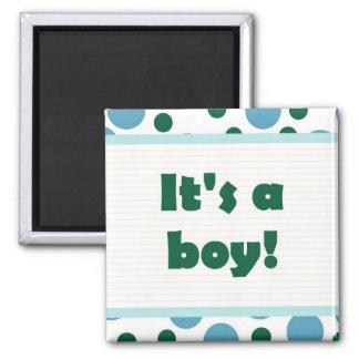 It's A Boy! Dot Design Light Teal Aqua Square Magnet