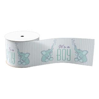 Its a boy elephant blowing heart bubbles ribbon grosgrain ribbon