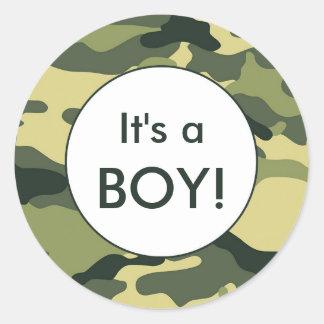 It's a BOY! Green camo announcement favor stickers