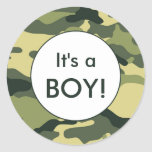 It's a BOY! Green camo announcement favour Round Sticker