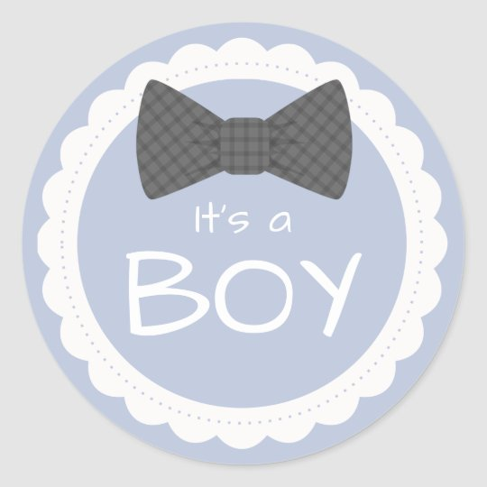 It's A Boy Grey Bow Tie Classic Round