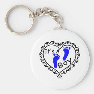 Its A Boy Heart Blue Footprints Basic Round Button Key Ring