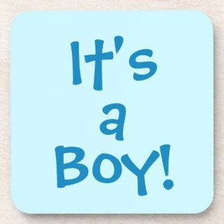 It's a Boy! in Blue Text on a Blue Background Coaster