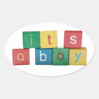 It's a boy in children's block letters announcemen oval sticker