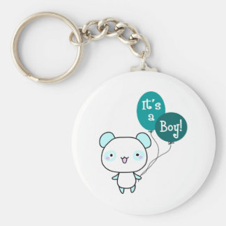 It's A Boy! Basic Round Button Key Ring