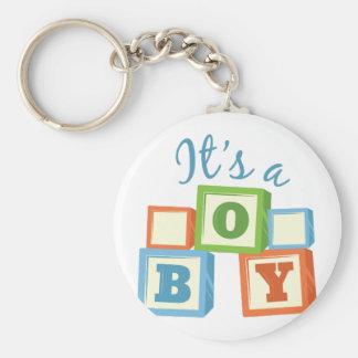 Its A Boy Basic Round Button Key Ring