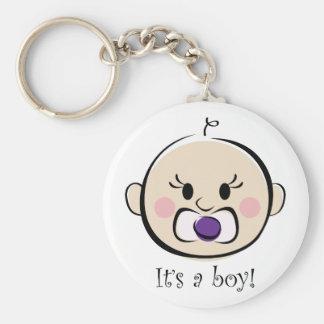 Its a Boy Basic Round Button Keychain