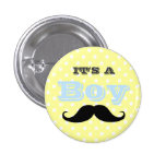 Its A Boy Moustache Yellow and Blue Baby Shower 3 Cm Round Badge