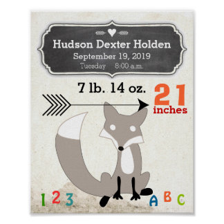 It's A Boy! New Baby Stats Cute Fox Poster