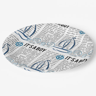 """It's a boy"" newspaper, nautical theme Paper Plate"