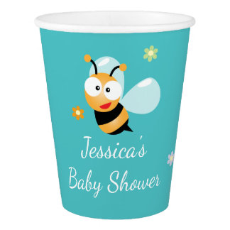 It's a Boy Pastel Blue Bumble Bee Boy Baby Shower Paper Cup