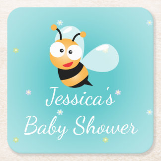 It's a Boy Pastel Blue Bumble Bee Boy Baby Shower Square Paper Coaster