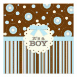 It's a Boy Pastel in Blue Stitches Baby Shower Personalised Invitation
