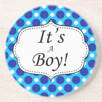 Its A Boy Polka Dot Milestone Beverage Coaster