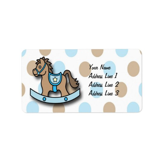It's a Boy Rocking Horse Baby Shower Address Label