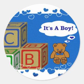 It's A Boy Round Sticker