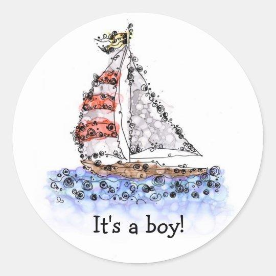 It's a boy! Sailboat Classic Round Sticker