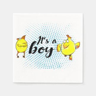 """""""It's a boy"""" sign with yellow chickens characters Disposable Serviette"""