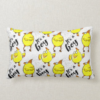 """""""It's a boy"""" sign with yellow chickens characters Lumbar Cushion"""
